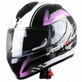 CASCO ASTONE GTB600 DIABLO NEGRO ROSA VISTA FROTAL-MP Racing