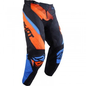 PANTALON OFF-ROAD SHOT ULTIMATE BLEU NEON ORANGE DERECHA