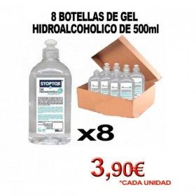 CAJA DE 8 BOTELLAS CON TAPÓN PUSH UP 500ml DE GEL HIDROALCOHOLICO