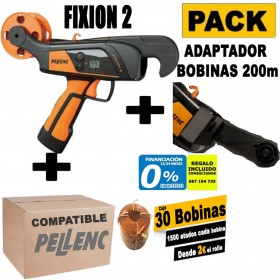 ATADORA PELLENC FIXION 2+CAJA DE 30 BOBINAS DE HILO COMPATIBLE CON PELLENC+ADAPTADOR PARA BOBINAS DE 200M