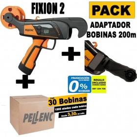 ATADORA FIXION 2 + CAJA DE 30 BOBINAS DE HILO PELLENC ORIGINAL+ADAPTADOR PARA BOBINA 200M