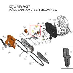 KIT A / PIÑON CADENA 9 DTS 1/4 SEILON M12  REF 79087 MECÁNICA